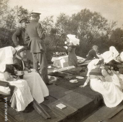 Afternoon tea on deck ambulance flotilla barge WWI