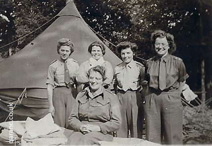 Becky R Hilda Sharpe with Keirl Green Anne and Matron Normandy QAIMNS WWII