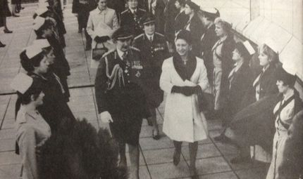 Colonel in Chief QARANC Princess Margaret escorted by Director Army Nursing Service Matron in Chief- Army) Brigadier Dame Margot Turner and Colonel Commandant Brigadier Dame Barbara Cozens