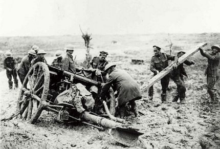 Field Gun Passchendaele 1917 stuck mud jacked up
