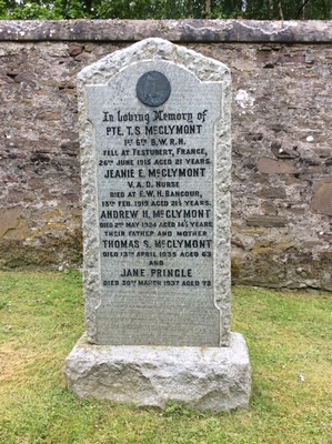 Jeanie E M McClymont VAD Logie Cemetery Stirlingshire Scotland