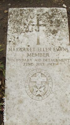 Margaret Ellen Evans Grave Voluntary Aid Detachment Wimereux Communal Cemetery