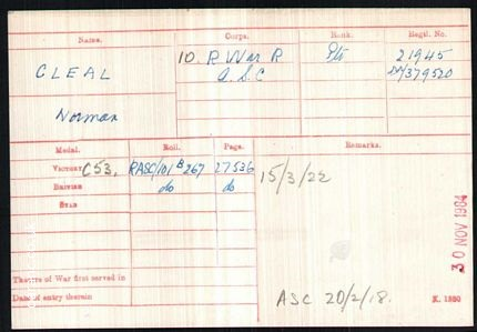 Medal Card World War One Norman Cleal