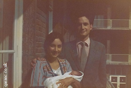 Post Natal Ward Balcony BMH Hannover 1981 Mother and Father Holding Baby