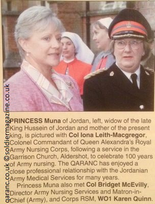 Princess Muna of Jordan 100 Years Army Nursing QARANC