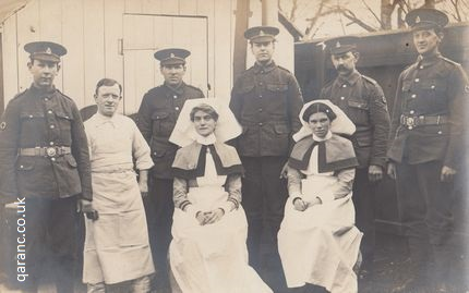 QAIMNS Reserve Nursing Sister and Staff Nurse with RAMC personnel Great War