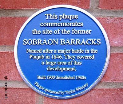 Sobraon Barracks Colchester Plaque