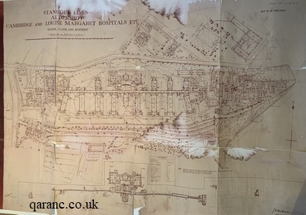 Detailed plan of the Cambridge and Louise Margaret Hospitals in Stanhope Lines, Aldershot Garrison
