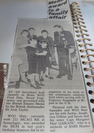 WO2 Fred Hair RE in Bonn Germany receiving his British Empire Medal