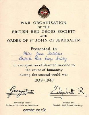 War Organisation of the British Red Cross Society and Order of St John of Jerusalem Certificate of World War Two Service