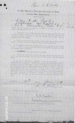 Application to War Department QAIMNSR World War One