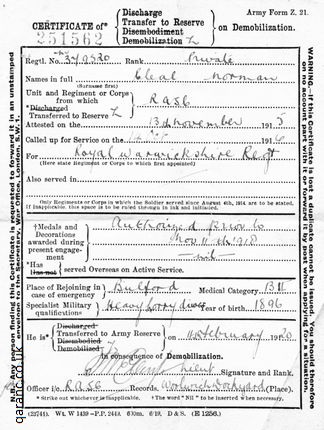 certificatereserved demobilisation army discharge papers