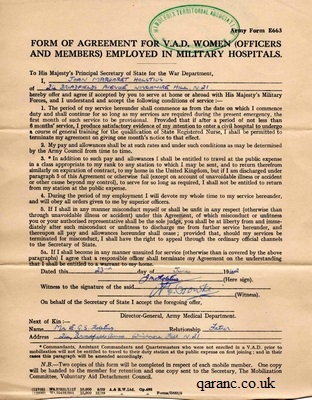 Form of Agreement for VAD Women (Officers and Members) Employed in Military Hospitals Army Form E663
