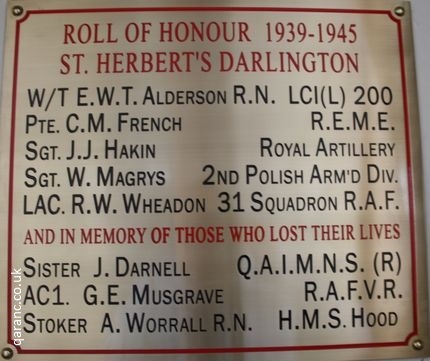 roll of honour saint herberts church darlington