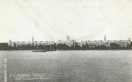 RV Hospital Netley from Southampton waters postcard