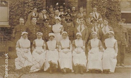sepia postcard patients staff percy house auxiliary military hospital