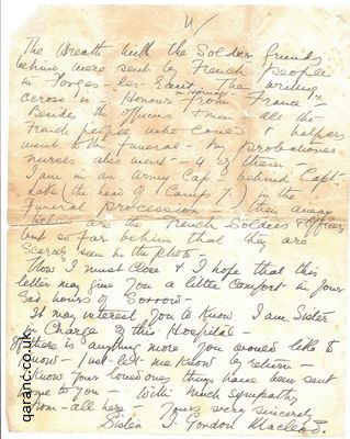 sympathy letter great war